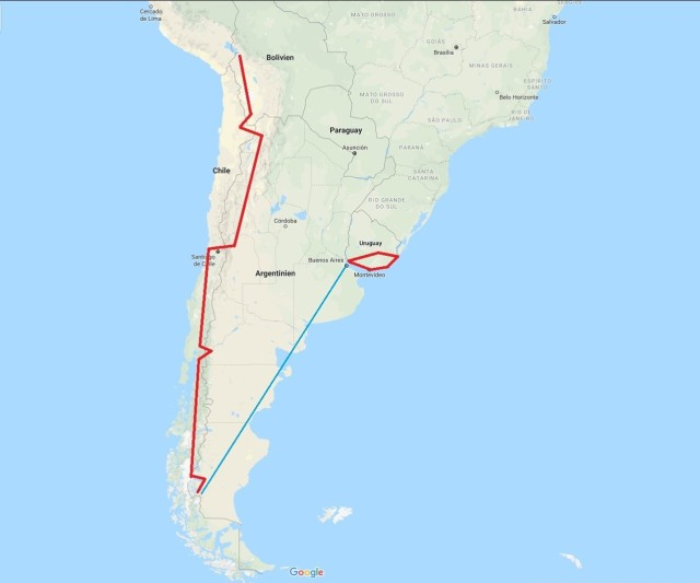 landkarte Suedamerika